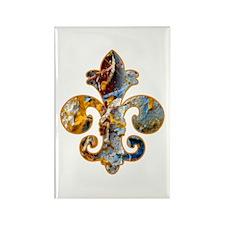 Fleur de lis Faux Paint 5 Rectangle Magnet