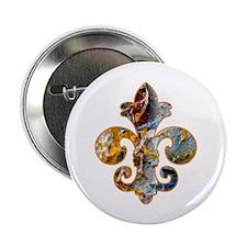"""Fleur de lis Faux Paint 5 2.25"""" Button (10 pack)"""