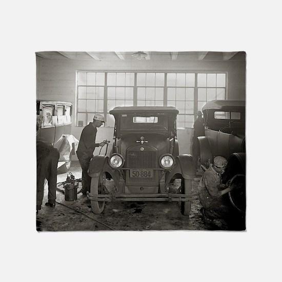 Auto Body Shop, 1926 Throw Blanket