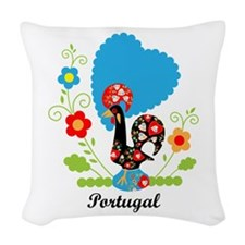 Portuguese Rooster Woven Throw Pillow