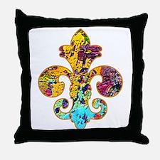 Fleur de lis Faux Paint 4 Throw Pillow
