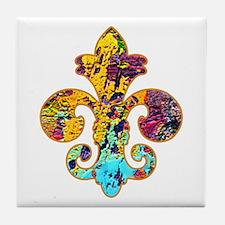 Fleur de lis Faux Paint 4 Tile Coaster
