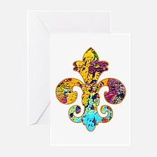 Fleur de lis Faux Paint 4 Greeting Cards (Package