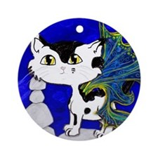 Frixie, Feline cat pixie Round Ornament