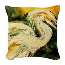 Egret catching his dinner Woven Throw Pillow