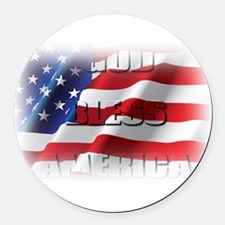 Patriotic God Bless America Round Car Magnet