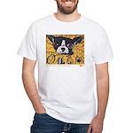 Olga, Boston terrier, seed art white T-shirt