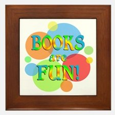 Books are Fun Framed Tile