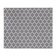 Gray And White Quatrefoil Geometric Pattern Throw