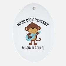 Worlds Greatest Music Teacher Ornament (oval)