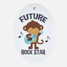 Future Rock Star Monkey with Guitar Ornament (Oval