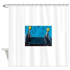 Tourism Agents at Work on the Pier Shower Curtain