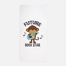 Future Rock Star Monkey with Guitar Beach Towel