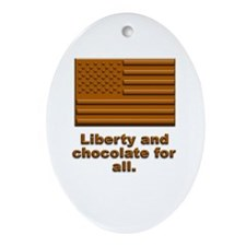 Liberty & Chocolate Oval Ornament