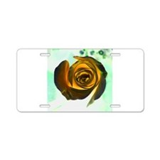 glowing yellow rose against green Aluminum License