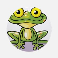 Cute Green Frog Ornament (Round)