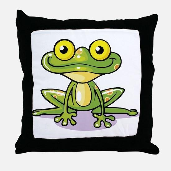Cute Green Frog Throw Pillow