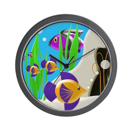 Colorful tropical fish wall clock by bedtimedesigns for Fish wall clock