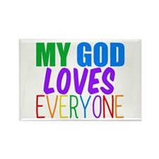 My God Loves Rectangle Magnet
