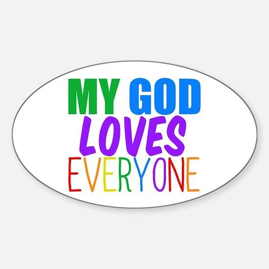 My God Loves Sticker (Oval)