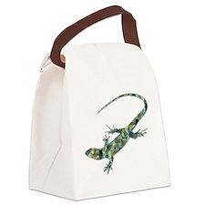 Mosaic Polygon Green Lizard Canvas Lunch Bag