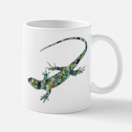 Mosaic Polygon Green Lizard Mugs