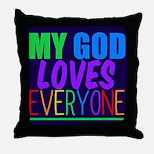 My God Loves Throw Pillow
