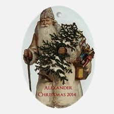 Personalized Victorian Santa Claus Ornament (oval)