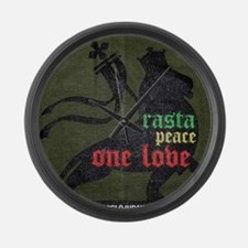 Rasta Peace One Love Large Wall Clock