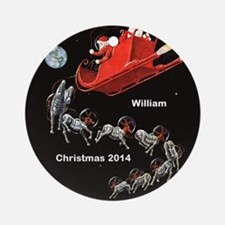Personalized Santa In Space Ornament (round)
