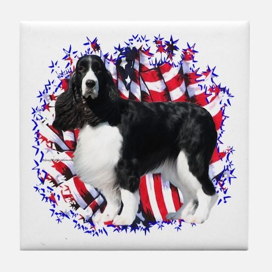 English Springer Patriotic Tile Coaster