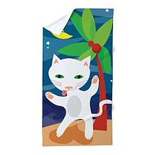 Dancing Martini Cat Beach Towel