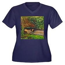Millais: Dro Women's Plus Size V-Neck Dark T-Shirt