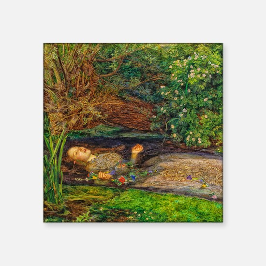 "Millais: Drowning Ophelia Square Sticker 3"" x 3"""