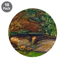 """Millais: Drowning Ophelia 3.5"""" Button (10 pack)"""