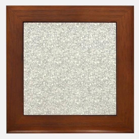 Silver Gray Glitter Sparkles Framed Tile