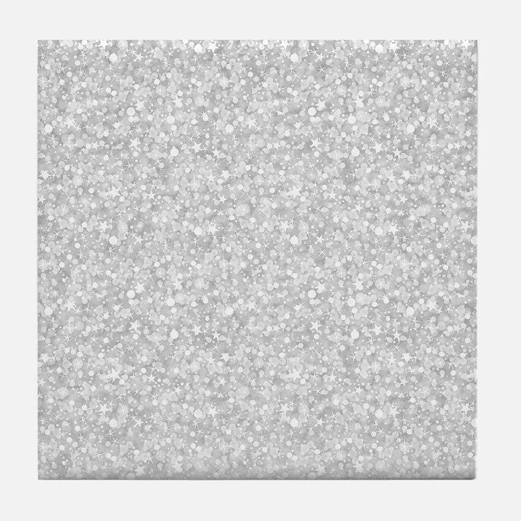 Silver Gray Glitter Sparkles Tile Coaster