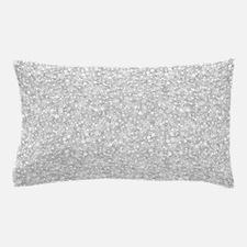 Silver Gray Glitter Sparkles Pillow Case