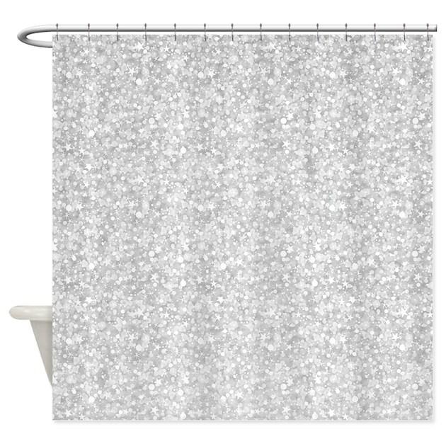 Silver Gray Glitter Sparkles Shower Curtain By Artonwear