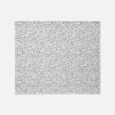 Silver Gray Glitter Sparkles Throw Blanket
