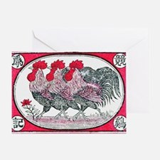 Funny Birds rooster Greeting Card