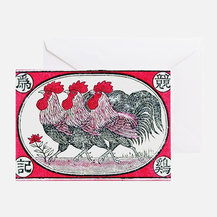 Cute Birds rooster Greeting Card