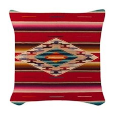 Southwest Red Serape Saltillo Woven Throw Pillow
