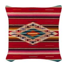 Southwest Red Serape Saltillo Woven Throw Pillow