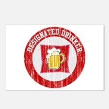 Designated Drinker Distressed Look Red Postcards (