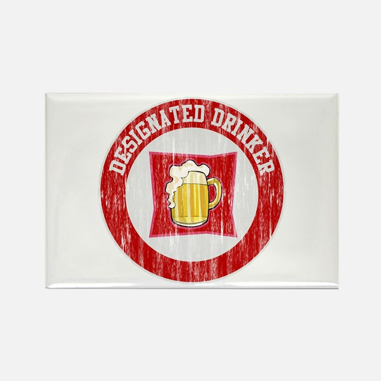 Designated Drinker Distressed Look Red Rectangle M