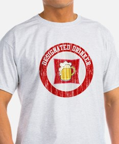Designated Drinker Distressed Look Red T-Shirt