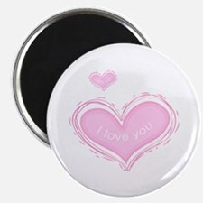 Love You Valentines Pink Heart Magnets