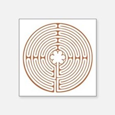 "Brown Chartres Labyrinth Square Sticker 3"" x 3"""