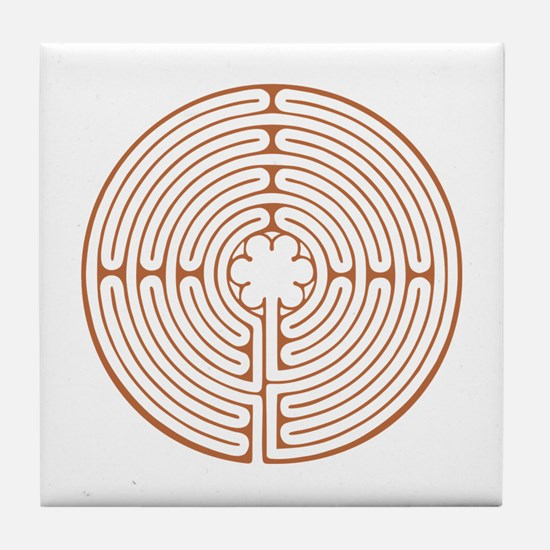 Brown Chartres Labyrinth Tile Coaster